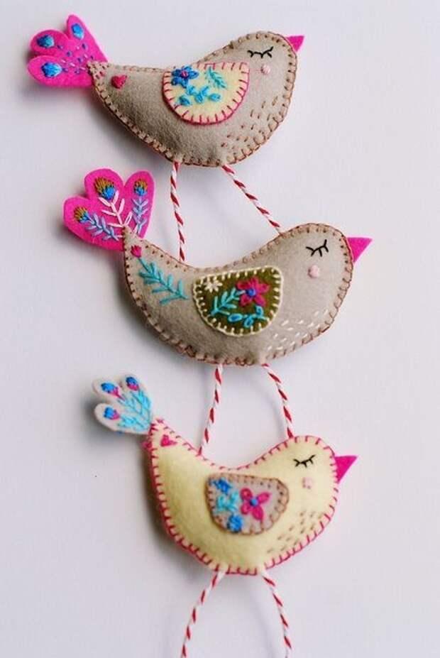 Текстильные птички ( + шаблоны)