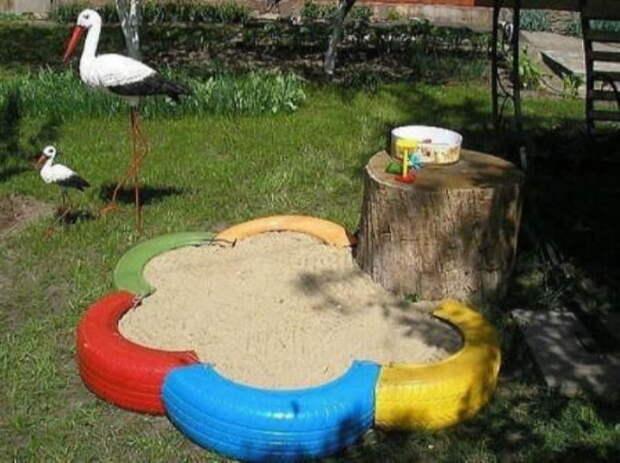 Старые покрышки могут сыграть довольно важную роль в детском досуге. /Фото: fontan.fun