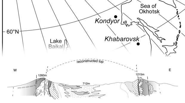 Кондёр на карте и примерная схема, как образование выглядело изначально - видим, что это был один большой холм