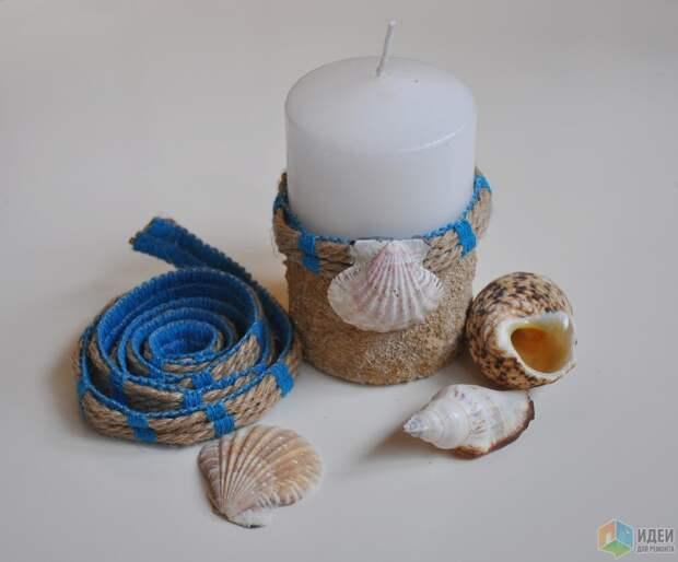 Теплые воспоминания о лете: декор свечей