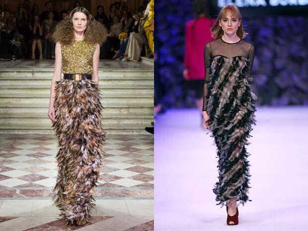 Модные новогодние платья 2017 с перьями в год петуха