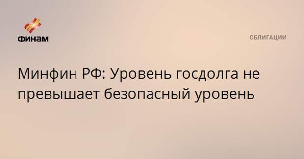 Минфин РФ: Уровень госдолга не превышает безопасный уровень
