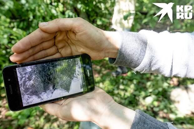 На старом смартфоне Диола показывает фото палатки зимой Фото: Андрей АБРАМОВ