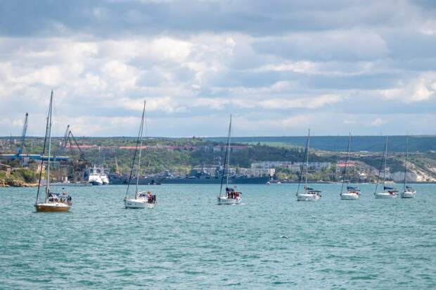 По Севастопольской бухте прошли десятки яхт из разных городов России в рамках акции «Эскадра памяти». Фото