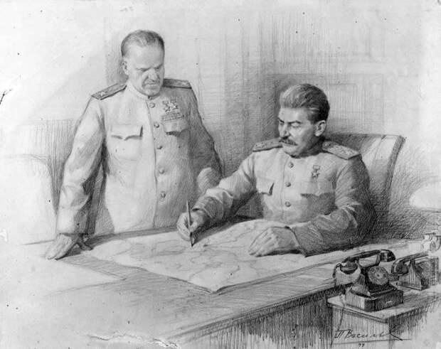П. Васильев. И.В. Сталин и Г.К. Жуков над картой боевых действий.