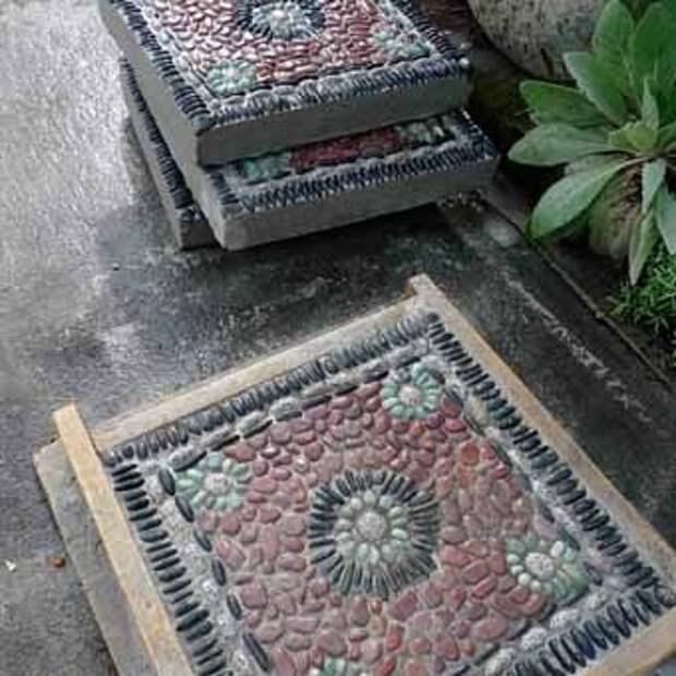 тротуарные мозаичные плиты для садовой дорожки своими руками