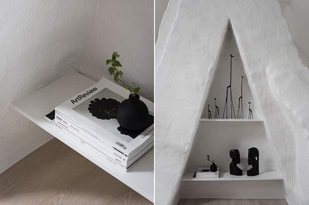Стильная скандинавская квартира с домашним офисом и спальней под крышей