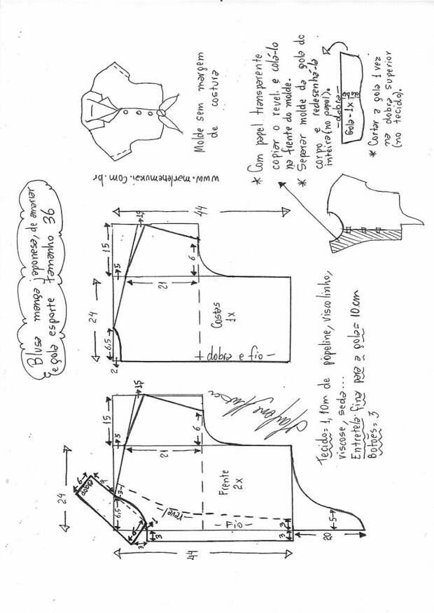 Выкройки блузки с узлом