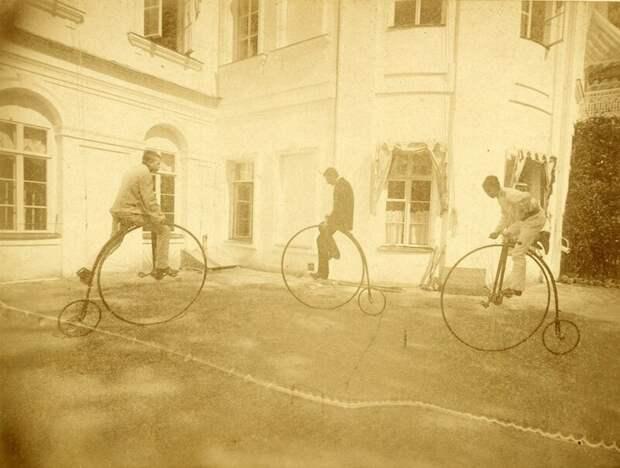 Катание на велосипедах в Михайловском (1880-е) дореволюционные снимки, интересно, кадр, россия, факты, фото
