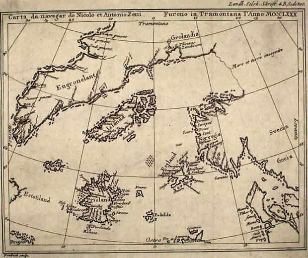 Древняя карта Зено