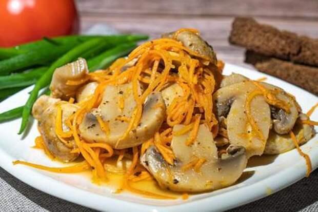 Корейский салат с шампиньонами и морковью: фото шаг 9