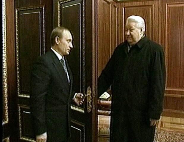 PRESIDENT YELTSIN SHOWS PUTIN THE PRESIDENTIAL OFFICE IN THE KREMLIN.