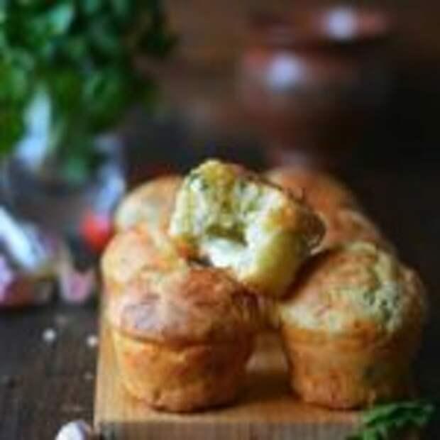 Сырные кексы с чесноком