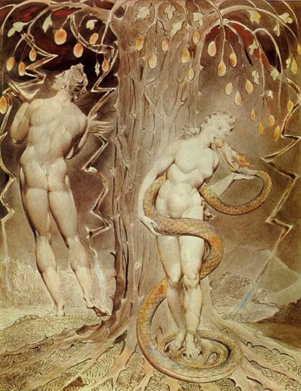 Уильям Блейк. Искушение Евы и грехопадение