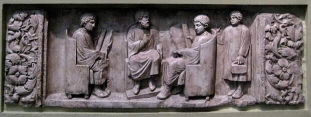Учитель и три ученика. Рельеф римского надгробья II в. н.э.