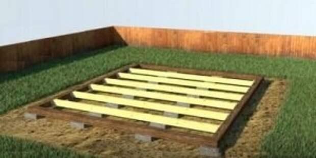 Деревянный каркасный гараж без утепления с односкатной крышей