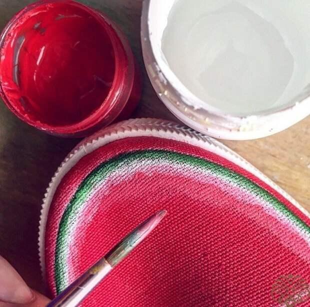 Арбузные тапочки - кеды (diy)