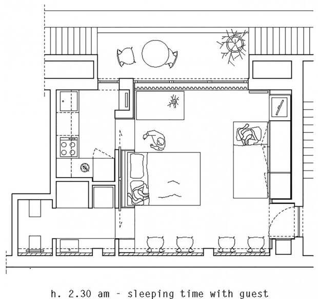 План квартиры - расположение мебели вечером на случай приезда гостей