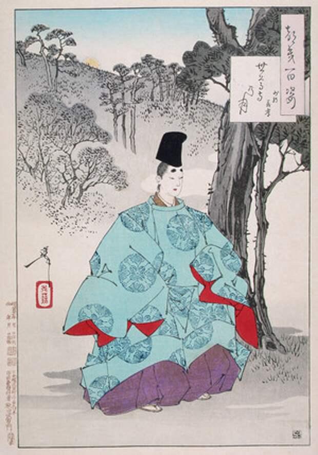 Фудзивара-но Ёситака, известный поэт и каллиграф X века, медитирует на территории храма Сесон за пределами Киото ФотоGetty Images