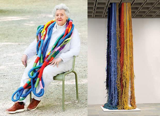 Шейла Хикс позирует с одной из своих работ. Инсталляция из нитей.