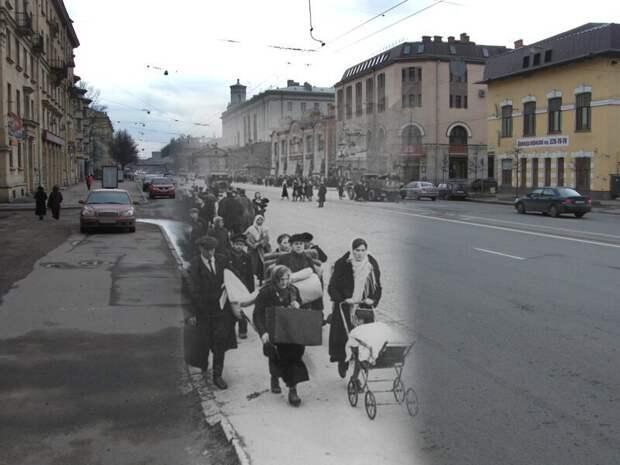Ленинград 1941-2009 Проспект Стачек. Эвакуация населения из пригородных районов блокада, ленинград, победа