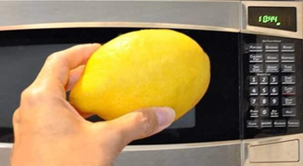 девушка держит лимон перед микроволновкой