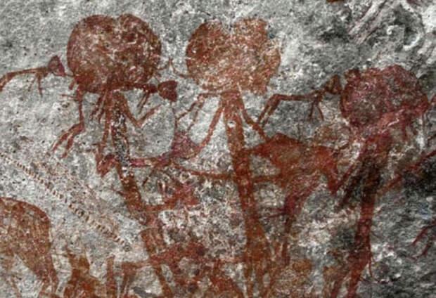 В Африке найден наскальный рисунок, на котором изображены загадочные существа