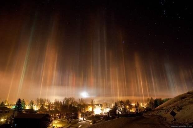 Оптический феномен – световые столбы природа, россия, столбы, феномен
