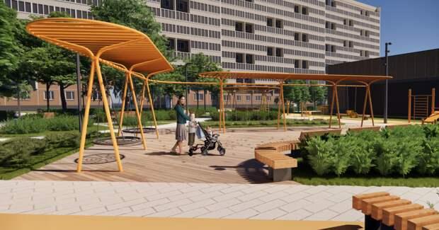Одна из прогулочных зон благоустроенного двора. Фото: пресс-служба проекта «Мой район»