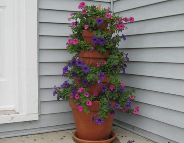 Каскадный горшок – Оригинальный цветник перед домом