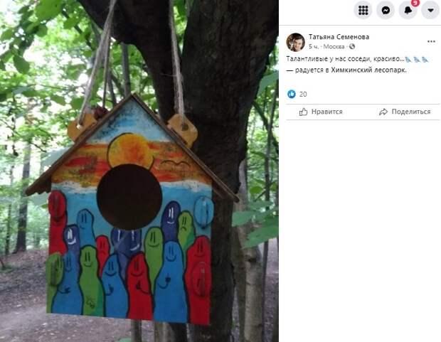 Фото дня: креативная кормушка в Химкинском лесопарке