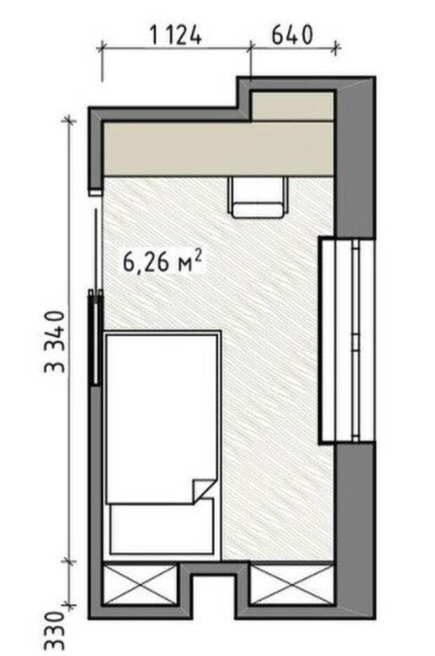 Спальня, детская или кабинет из 6 квадратных метров