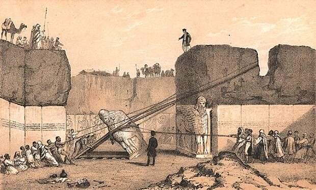 Подъём крылатых быков осуществлялся после того, как они были найдены в XIX в. у входа во дворец Ашшурнасирапала II В Нимруде, где с IX в. до н. э. несли свою бессменную вахту.