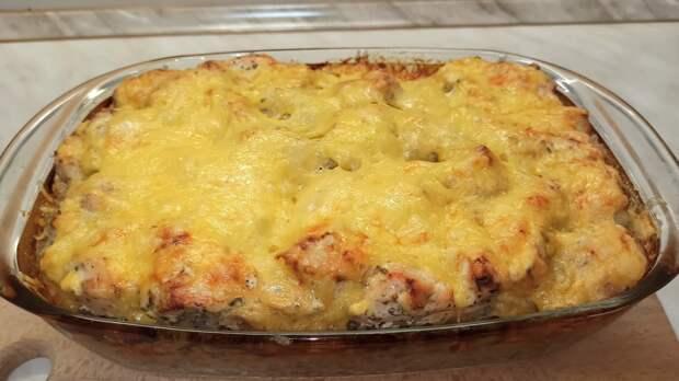 Вкусный ужин для всей семьи! Запеканка из курицы и гречки с сырной корочкой