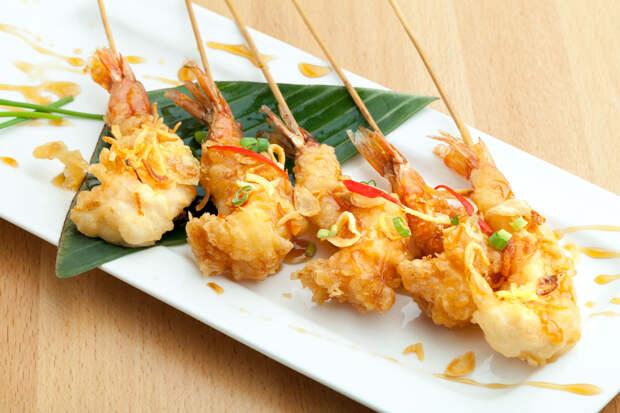 Хрустящие креветки с азиатским соусом