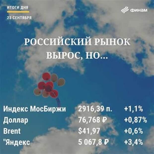 """Итоги среды, 23 сентября: """"Яндекс"""" спас российский рынок от снижения"""