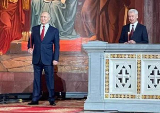 Владимир Путин принял участие в пасхальном богослужении в храме Христа Спасителя