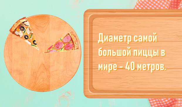 Диаметр самой большой пиццы в мире - 40 метров.