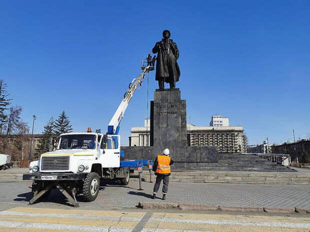 Сегодня в Красноярске помоют памятник Ленину