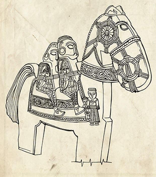 Прорисовка каменного изваяния. Рис. Е. Шумаковой