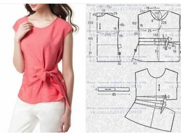 Блузка с приталиванием завязкой