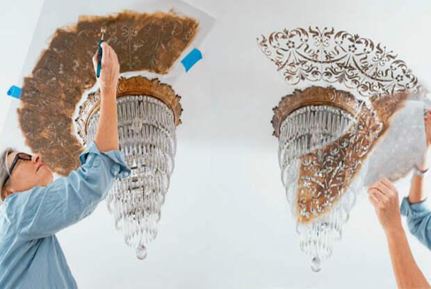 Декорирование потолка под люстру.