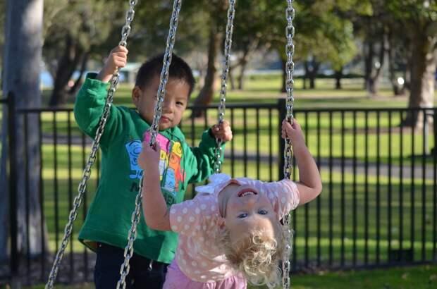 Дети, Парк, Детская Площадка, Качели