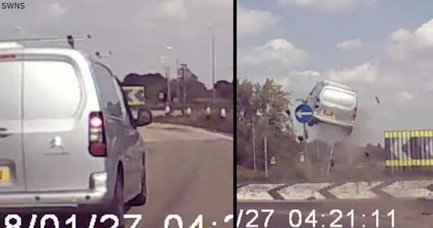 Наглый водитель не успел повернуть на кольце - и взлетел в воздух!