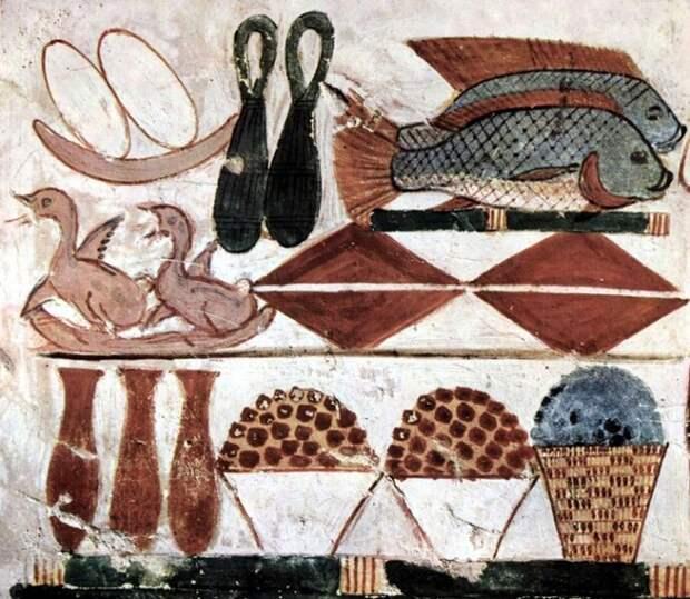 Продукты древности на фреске