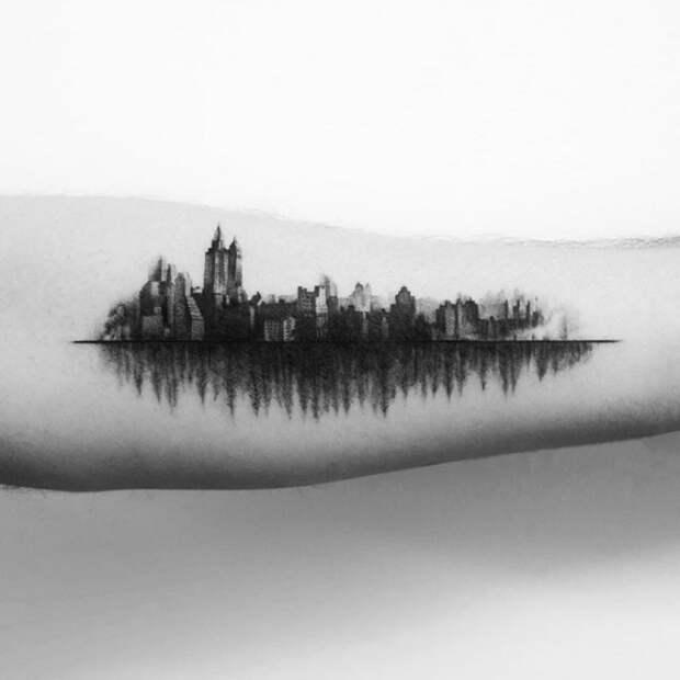 Город над подошвой: восхитительные архитектурные татуировки