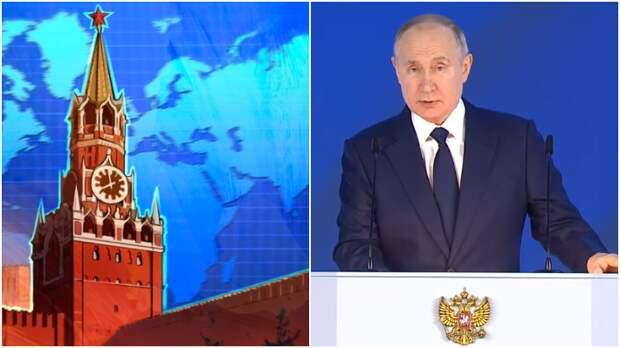 """Евстафьев: послание Путина вызвало траур на Украине / Коллаж: ФБА """"Экономика сегодня"""""""