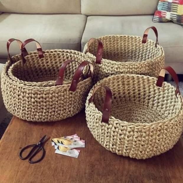 Практичные корзинки, вязаные крючком: 17 идей для дома
