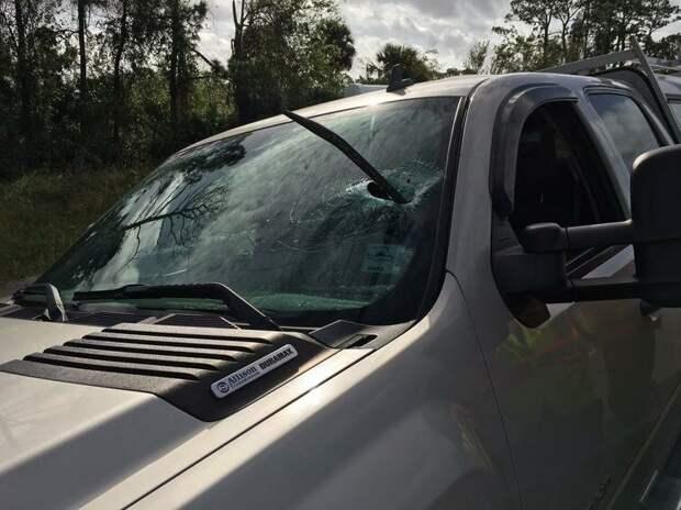 Непонятно откуда взявшийся ломик пробил лобовое стекло. Водитель не пострадал авто, в мире, дорога, за рулем, опасно, подборка, прилетело