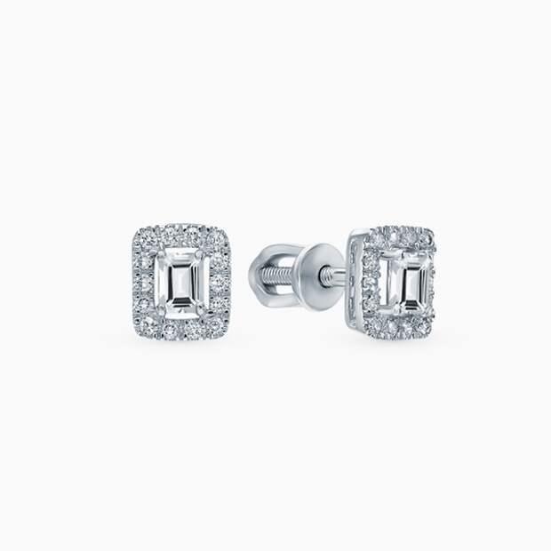 Серьги SL, белое золото, бриллианты